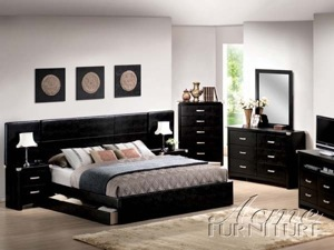 California King Bedroom Set. 14210Q SET  Queen Size Oak Finish Black California King Bedroom Set 12294CK L jpg